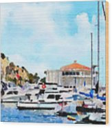 Avalon Casino Harbor, Catalina Wood Print