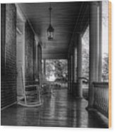 Avenel Front Porch - Bw Wood Print by Steve Hurt