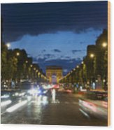 Avenue Des Champs Elysees. Paris Wood Print by Bernard Jaubert
