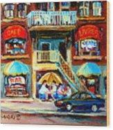 Avenue Du Parc Cafes Wood Print