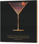 Aviation Cocktail - Classic Cocktails Series - Black And Gold - Modern, Minimal Decor Wood Print