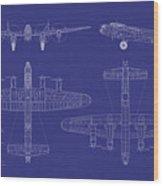 Avro Lancaster Bomber Blueprint Wood Print