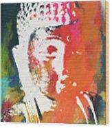 Awakened Buddha 5- Art By Linda Woods Wood Print