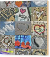 Awesome Hearts - Collage Wood Print