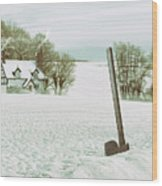 Axe In Snow Scene Wood Print