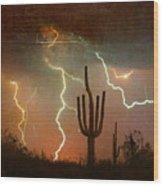 Az Saguaro Lightning Storm Wood Print