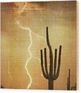 Az Saguaro Lightning Storm V Wood Print