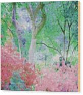 Azalea Flowers And Tree Coral  Wood Print
