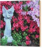 Azalea Garden Angel Wood Print