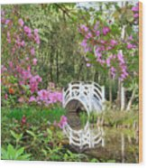 Azaleas And Bridge In Magnolia Lagoon Wood Print