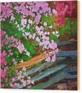 Azaleas Over The Fence Wood Print