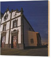 Azorean Church At Night Wood Print