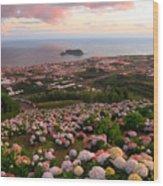 Azorean Town At Sunset Wood Print