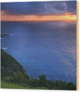 Azores Islands Sunset Wood Print