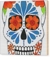 Aztec Inspired Sugarskull Wood Print