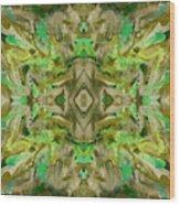 Aztec Kaleidoscope - Pattern 009 - Dark Olive Wood Print