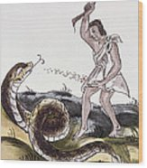Aztec Killing A Serpent Wood Print