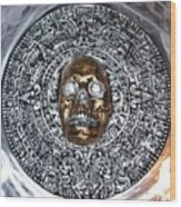 Aztec  Mayan Skull Warrior Calendar Relief Photo Wood Print