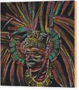 Aztec Skull Warrior Wood Print