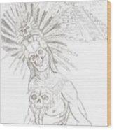 Aztec Warrior In Front Of Chicchen Itza Wood Print