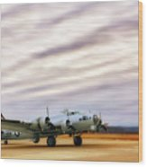 B-17 Aluminum Overcast - Bomber - Cantrell Field Wood Print