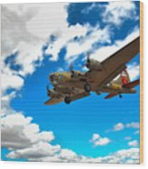 B-17 Approach Wood Print by Jim Harris