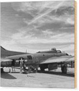 B-17  Black  Wood Print