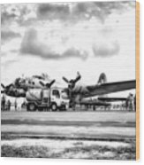 B-17 Bomber Fueling Up In Hdr Wood Print