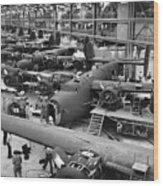 B-24 Liberator Bombers Nearing Wood Print by Everett