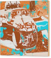 B-25 Blue Brown Wood Print