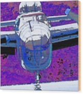 B-25 Blue Purple Wood Print