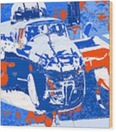 B-25 Blue Red  Wood Print