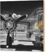 B-25 Mitchell Infrared Wood Print