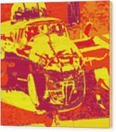B-25 Red Yellow Wood Print