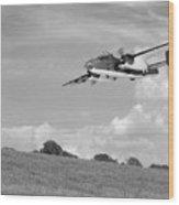 B-25 Warbird Returns - Black And White Wood Print