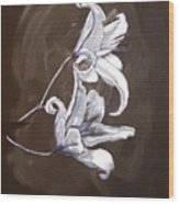 B And W Lily Wood Print