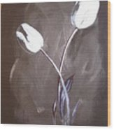B And W Tulips Wood Print