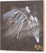 B And W Wild Grass Wood Print