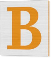 B In Tangerine Typewriter Style Wood Print