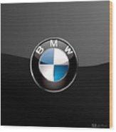 B M W  3 D Badge on Black Wood Print