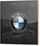 B M W  3 D  Badge Over B M W I8 Silver Blueprint On Black Special Edition Wood Print