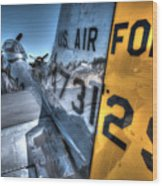 B17 And Her P51 Mustang Escort Sit Ready Wood Print