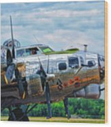 B17 Bomber Side View Wood Print