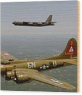 B17g And B52h In Flight Wood Print