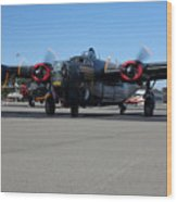 B24 Liberator Start-up At Livermore Klvk Memorial Day Wood Print