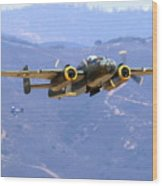 B25 Mitchell Flyby At Salinas Wood Print