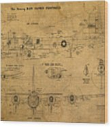B29 Superfortress Military Plane World War Two Schematic Patent Drawing On Worn Distressed Canvas Wood Print