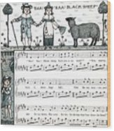 Baa Baa Black Sheep Antique Music Score Wood Print