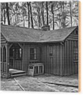 Babcock State Park Cabin - Paint Bw Wood Print