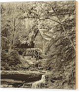 Babcock State Park Wv - Sepia Wood Print